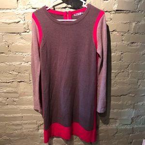 Eliza J sweater dress brown pink back zip S